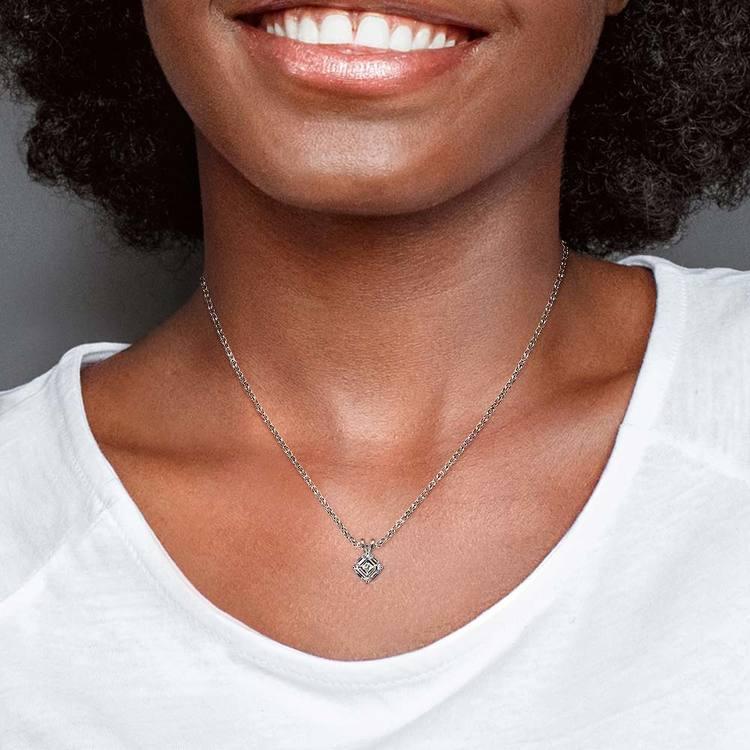 1/2 Carat Asscher Cut Diamond Necklace In White Gold | 04