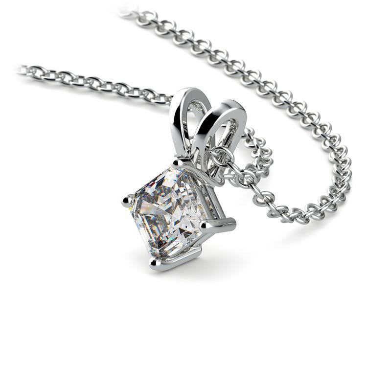 Asscher Diamond Solitaire Pendant in White Gold (1/4 ctw)  | 03