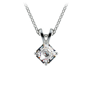 Asscher Diamond Solitaire Pendant in White Gold (1/5 ctw)