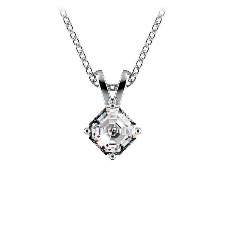 Asscher Diamond Solitaire Pendant in White Gold (1/5 ctw)  | 01