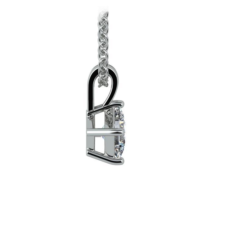 Asscher Diamond Solitaire Pendant in White Gold (1/5 ctw)  | 02