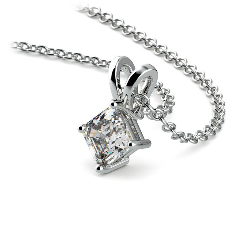 Asscher Diamond Solitaire Pendant in White Gold (1/5 ctw)  | 03