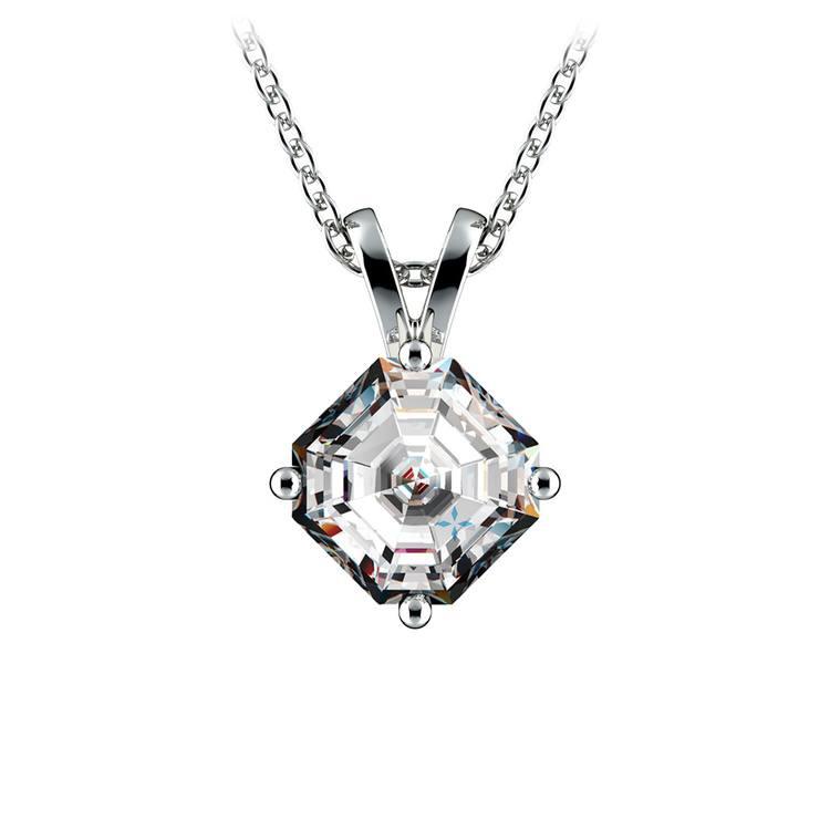 Asscher Diamond Solitaire Pendant in White Gold (1 ctw)  | 01