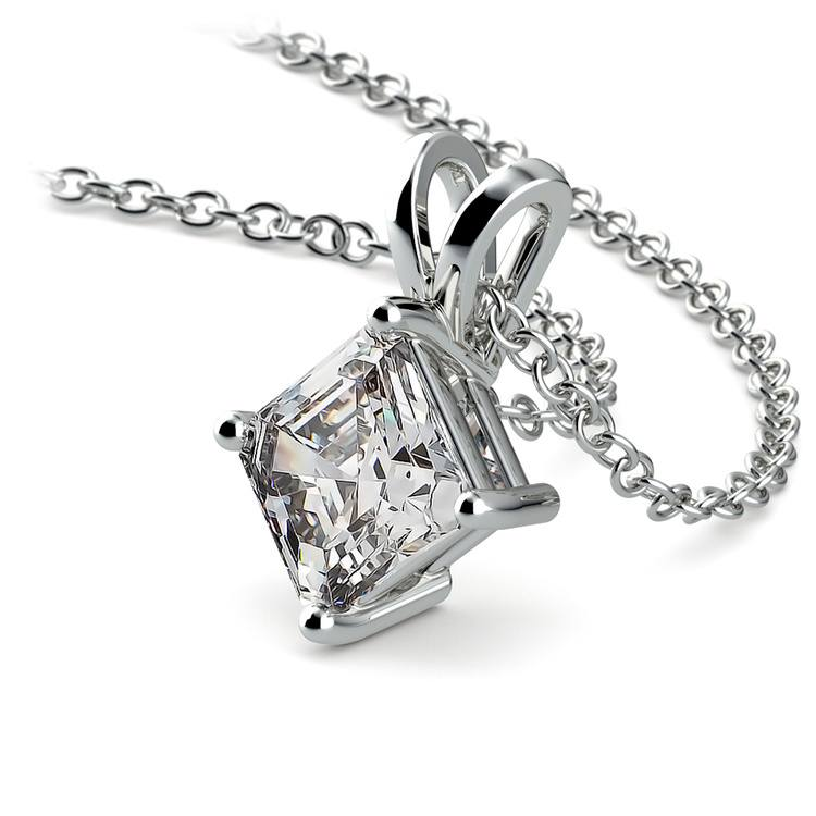 Asscher Diamond Solitaire Pendant in White Gold (1 ctw)  | 03