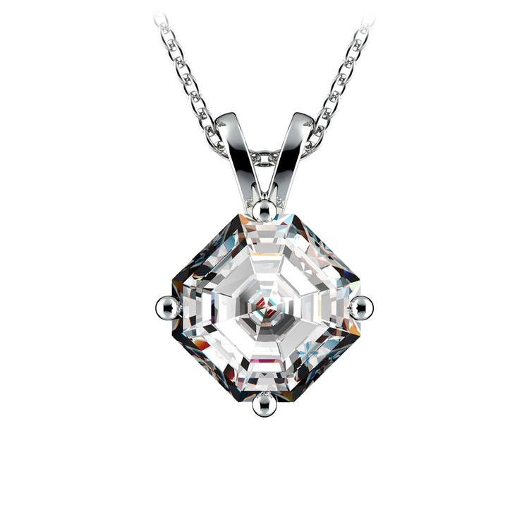 Asscher Diamond Solitaire Pendant in White Gold (2 ctw)  | 01