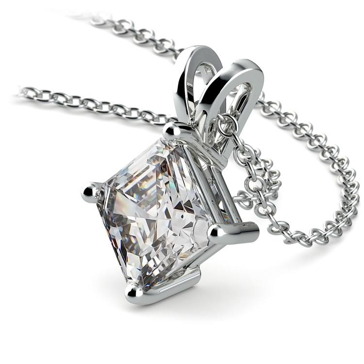 Asscher Diamond Solitaire Pendant in White Gold (2 ctw)  | 03