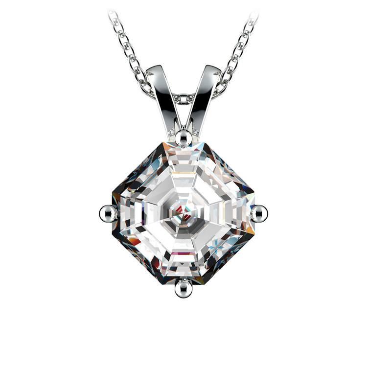 Asscher Diamond Solitaire Pendant in White Gold (3 ctw)  | 01