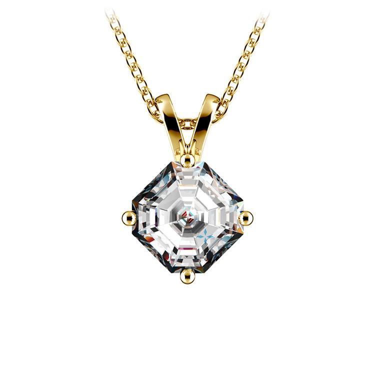 Asscher Diamond Solitaire Pendant in Yellow Gold (1 ctw)  | 01
