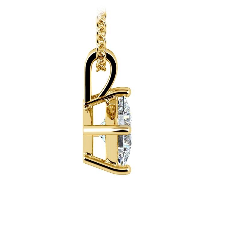 Asscher Diamond Solitaire Pendant in Yellow Gold (1 ctw)  | 02