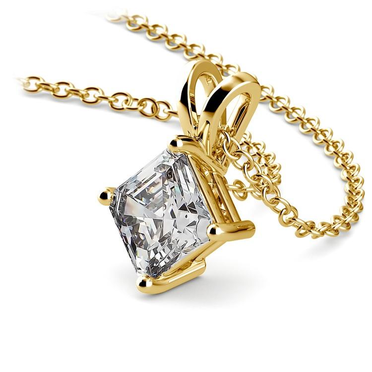 Asscher Diamond Solitaire Pendant in Yellow Gold (1 ctw)  | 03
