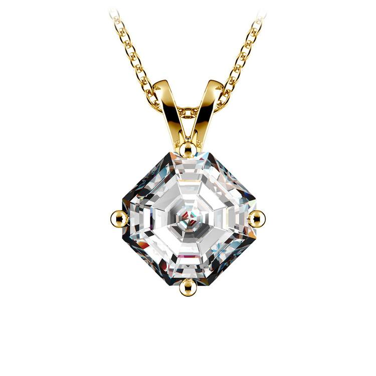 Asscher Diamond Solitaire Pendant in Yellow Gold (2 ctw)  | 01