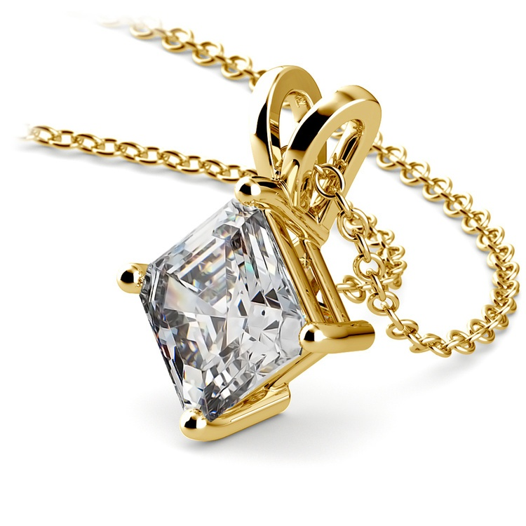 Asscher Diamond Solitaire Pendant in Yellow Gold (2 ctw)  | 03