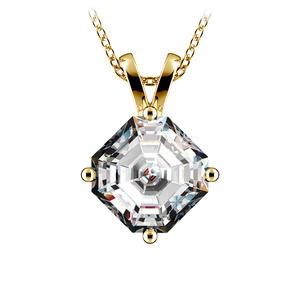 Asscher Diamond Solitaire Pendant in Yellow Gold (3 ctw)