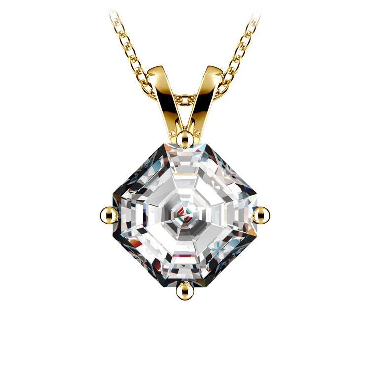Asscher Diamond Solitaire Pendant in Yellow Gold (3 ctw)  | 01