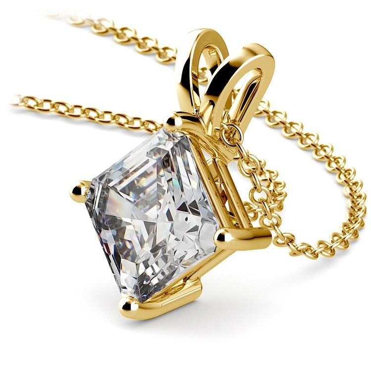 Asscher Diamond Solitaire Pendant in Yellow Gold (3 ctw)  | 03