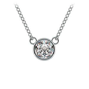 Bezel Diamond Solitaire Pendant in Platinum (1/2 ctw)