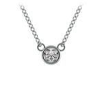 Bezel Diamond Solitaire Pendant in Platinum (1/5 ctw) | Thumbnail 01