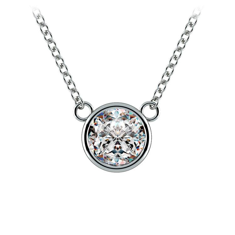 Bezel Diamond Solitaire Pendant in Platinum (1 ctw) | 01