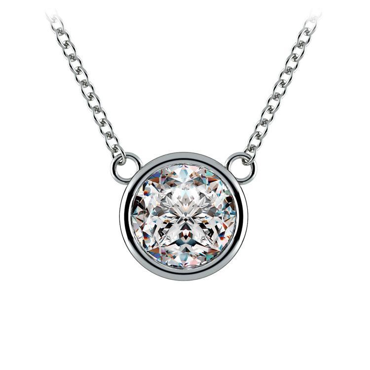 Bezel Diamond Solitaire Pendant in Platinum (2 ctw) | 01