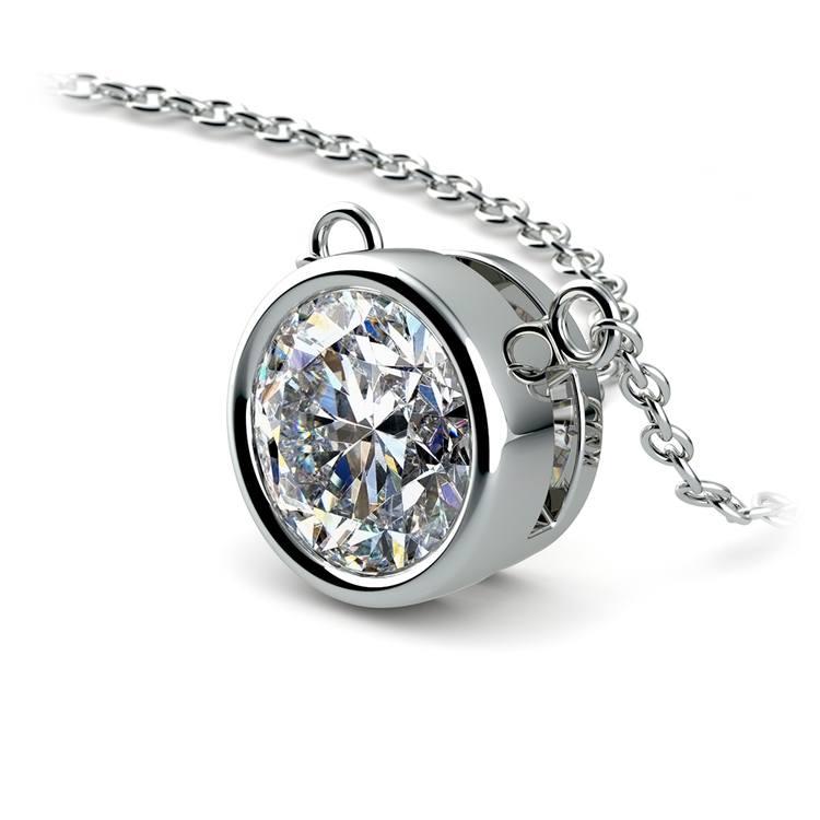 Bezel Diamond Solitaire Pendant in Platinum (2 ctw) | 03