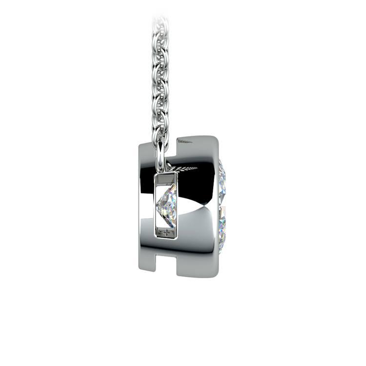 Bezel Diamond Solitaire Pendant in White Gold (1 1/2 ctw) | 02