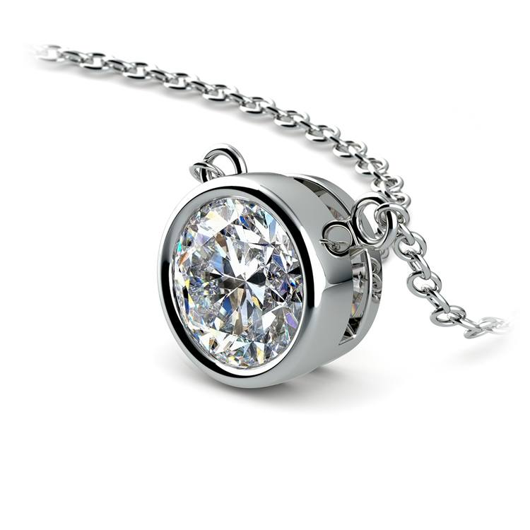Bezel Diamond Solitaire Pendant in White Gold (1 1/2 ctw) | 03