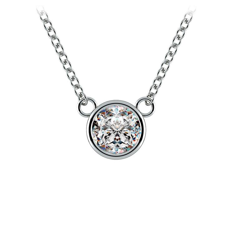 Bezel Diamond Solitaire Pendant in White Gold (1/2 ctw) | 01