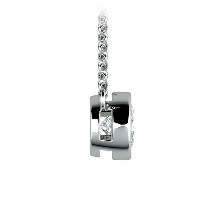 Bezel Diamond Solitaire Pendant in White Gold (1/2 ctw) | 02