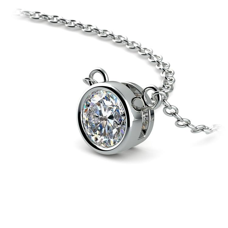 Bezel Diamond Solitaire Pendant in White Gold (1/2 ctw) | 03