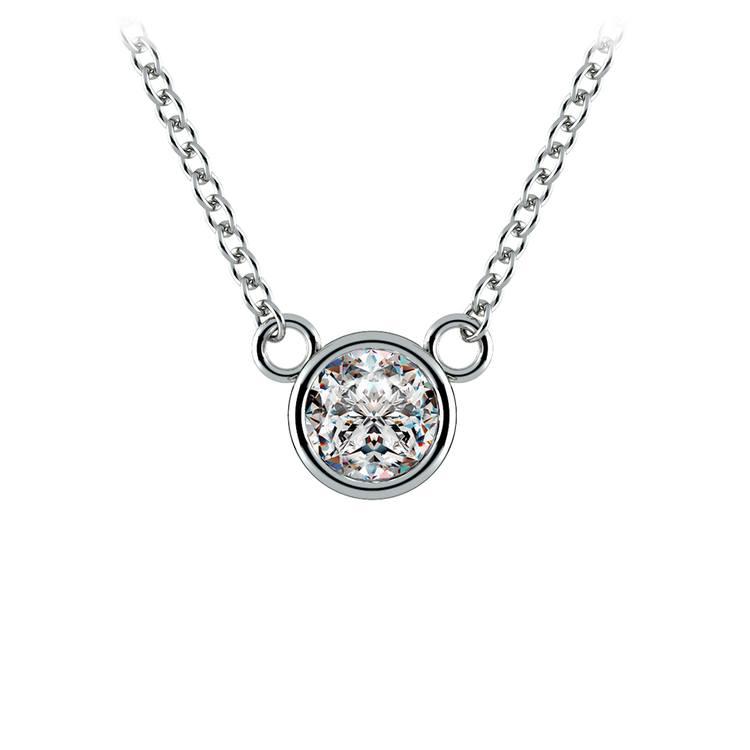Bezel Diamond Solitaire Pendant in White Gold (1/3 ctw) | 01