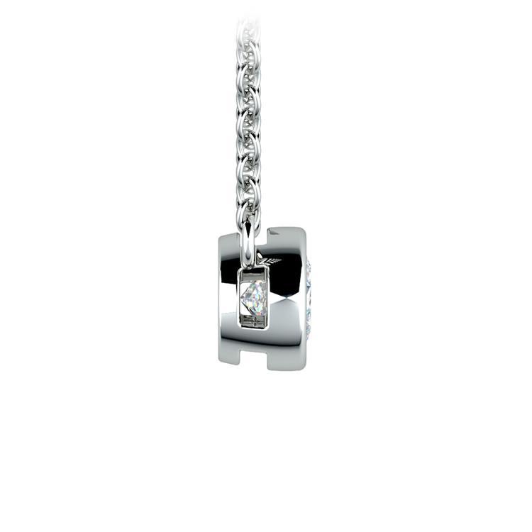 Bezel Diamond Solitaire Pendant in White Gold (1/3 ctw) | 02