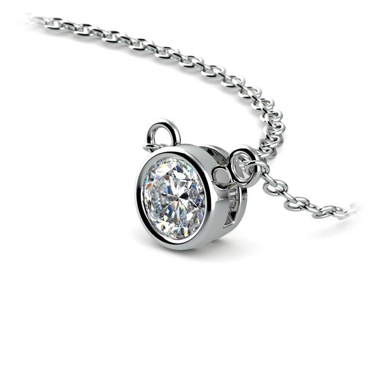 Bezel Diamond Solitaire Pendant in White Gold (1/3 ctw) | 03