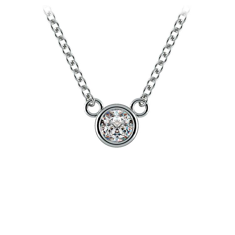 Bezel Diamond Solitaire Pendant in White Gold (1/4 ctw) | 01