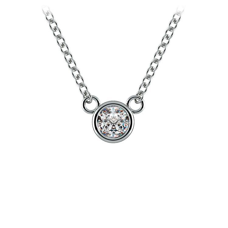 Bezel Diamond Solitaire Pendant in White Gold (1/5 ctw) | 01