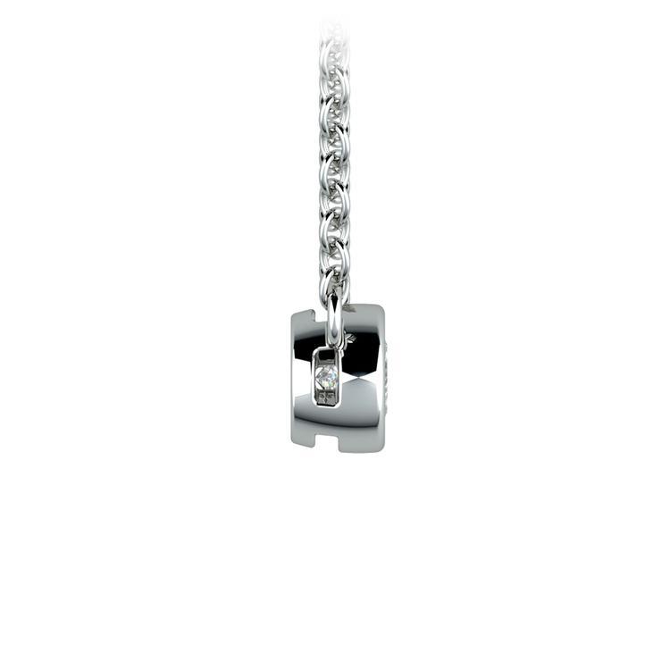 Bezel Diamond Solitaire Pendant in White Gold (1/5 ctw) | 02