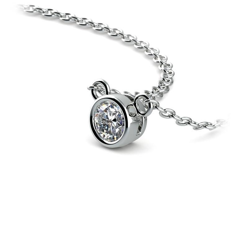 Bezel Diamond Solitaire Pendant in White Gold (1/5 ctw) | 03
