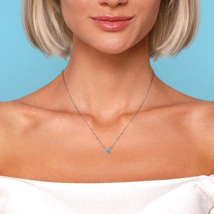 Bezel Diamond Solitaire Pendant in White Gold (1/5 ctw) | 04