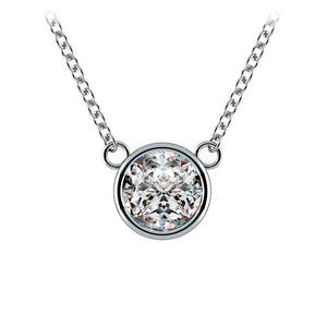 Bezel Diamond Solitaire Pendant in White Gold (1 ctw)