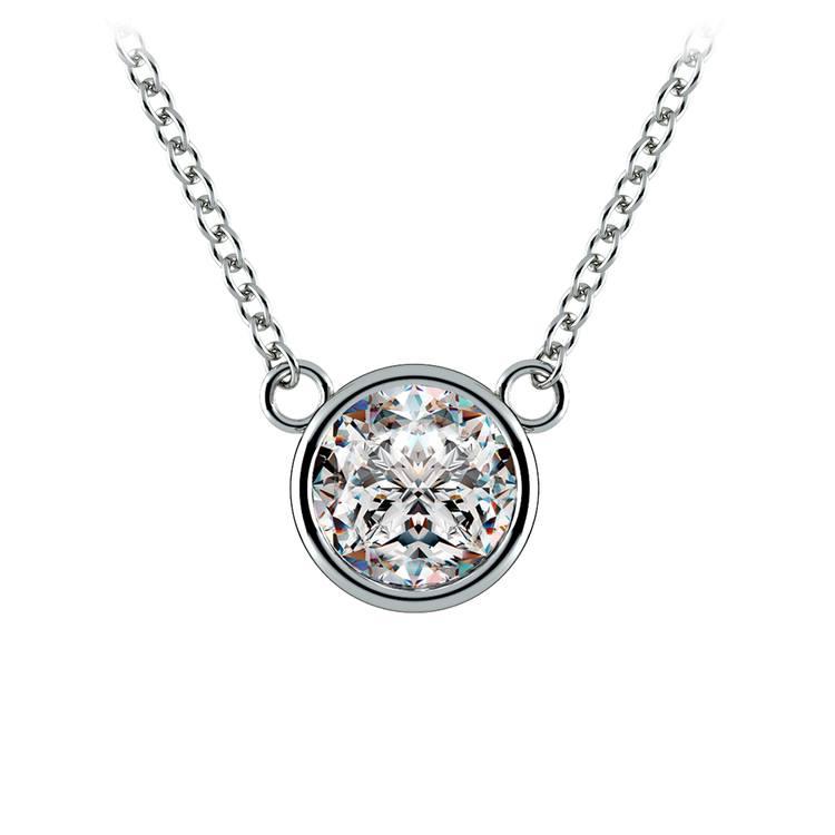 Bezel Diamond Solitaire Pendant in White Gold (1 ctw) | 01