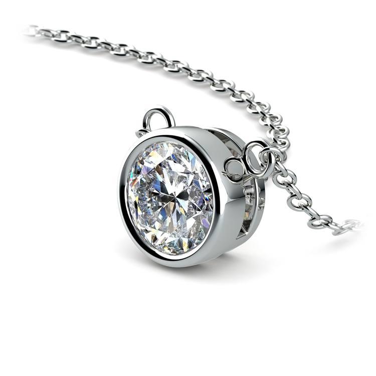 Bezel Diamond Solitaire Pendant in White Gold (1 ctw) | 03