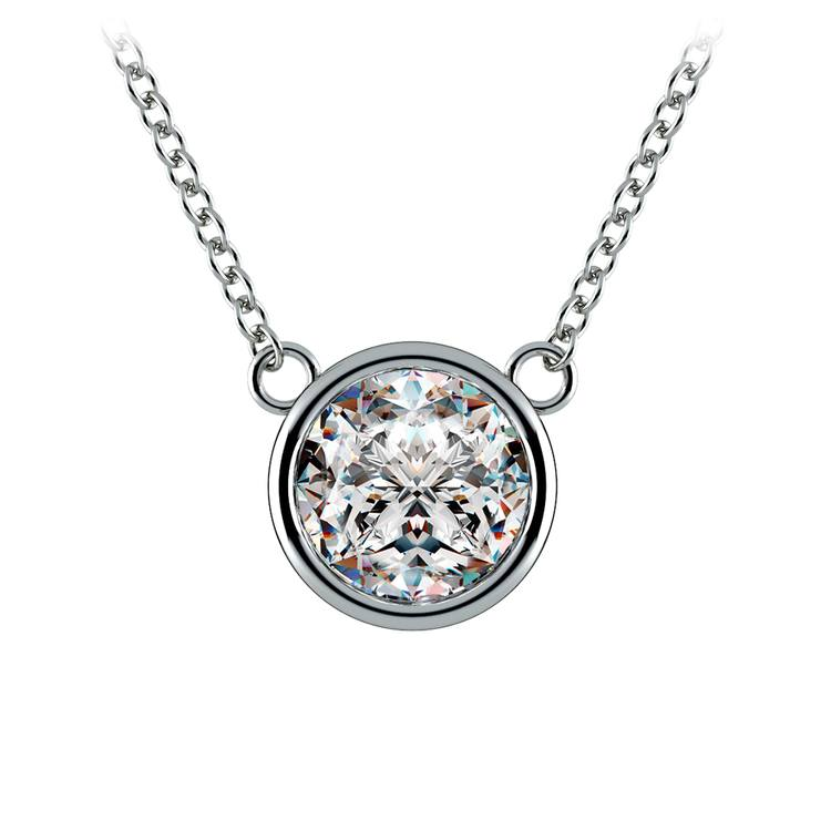 Bezel Diamond Solitaire Pendant in White Gold (2 ctw) | 01