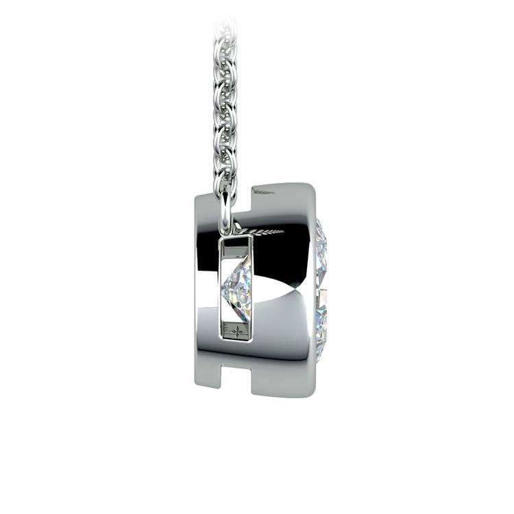 Bezel Diamond Solitaire Pendant in White Gold (2 ctw) | 02