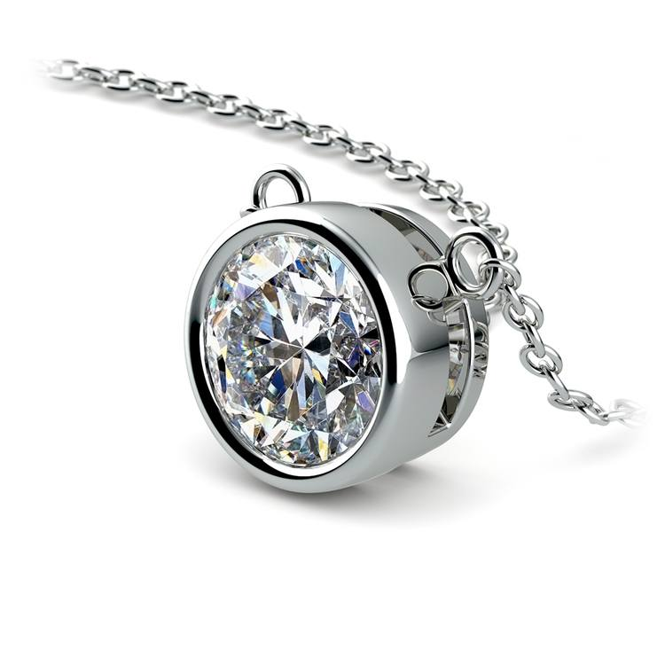 Bezel Diamond Solitaire Pendant in White Gold (2 ctw) | 03