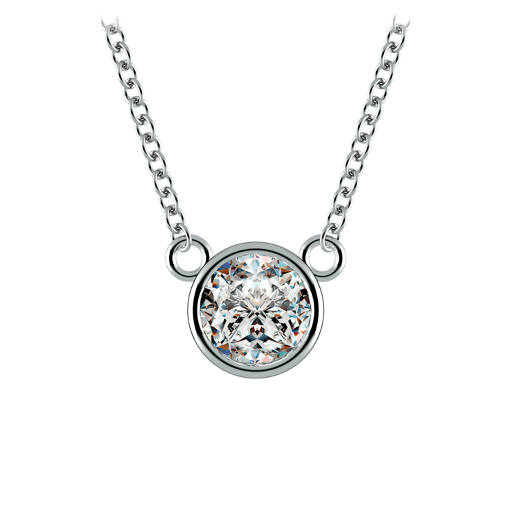 Bezel Diamond Solitaire Pendant in White Gold (3/4 ctw) | 01