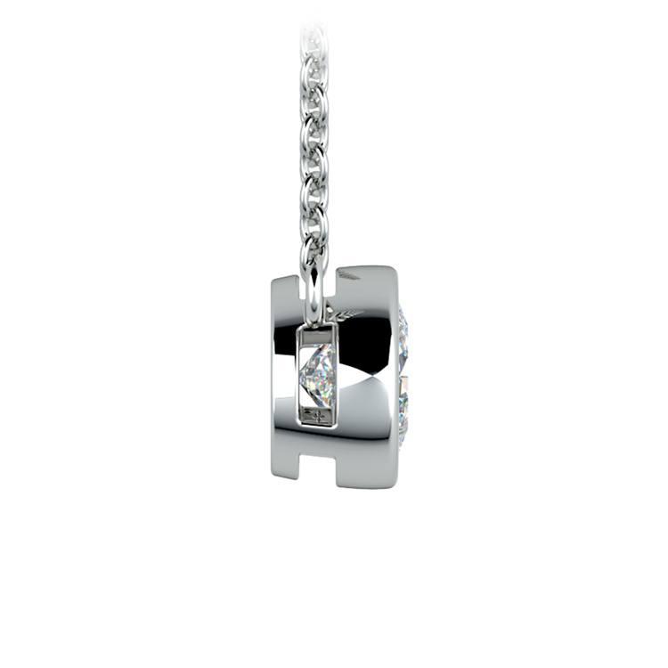 Bezel Diamond Solitaire Pendant in White Gold (3/4 ctw) | 02