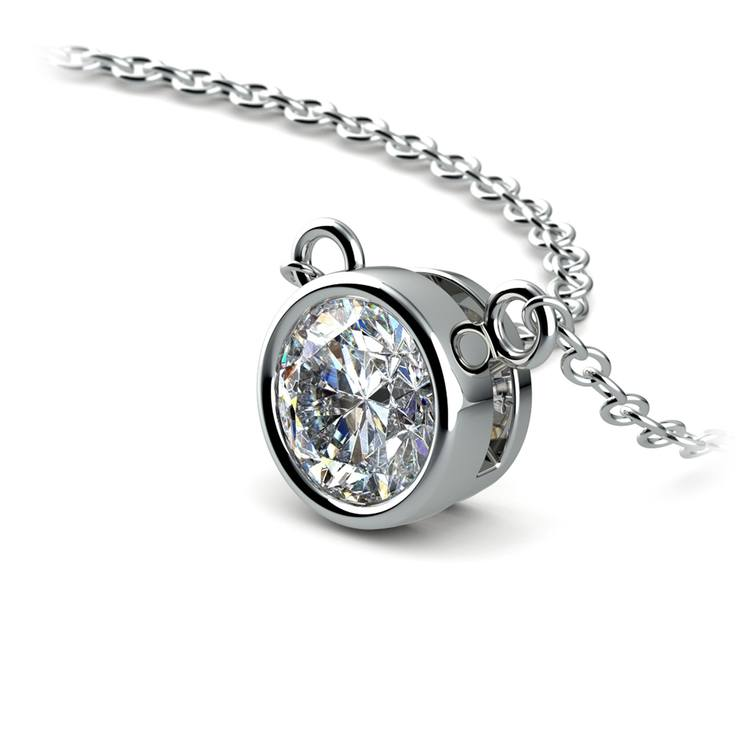 Bezel Diamond Solitaire Pendant in White Gold (3/4 ctw) | 03