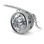 Bezel Diamond Solitaire Pendant in White Gold (3 ctw) | Thumbnail 03