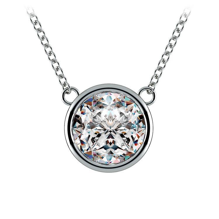 Bezel Diamond Solitaire Pendant in White Gold (3 ctw) | 01