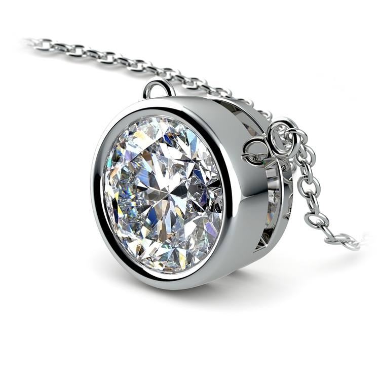 Bezel Diamond Solitaire Pendant in White Gold (3 ctw) | 03