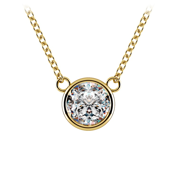 Bezel Diamond Solitaire Pendant in Yellow Gold (1 ctw) | 01
